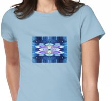 Blue Chakra Waterfall Impressionist Flower Design Womens Fitted T-Shirt
