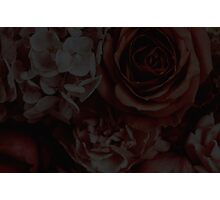 Faded Dark Red Floral Print Photographic Print