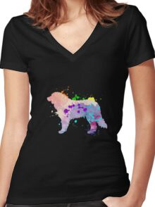 Colorful Adult & Kids Bernese Mountain Dog Cool Shirt Gift Women's Fitted V-Neck T-Shirt