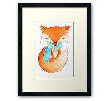 Cute fox cub whimsical winter watercolor art Framed Print