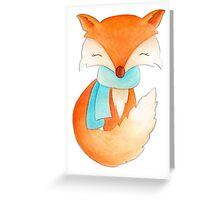Cute fox cub whimsical winter watercolor art Greeting Card