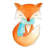Cute fox cub whimsical winter watercolor art Photographic Print