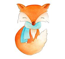 Cute fox cub whimsical winter watercolor art Photographic Print