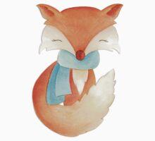 Cute fox cub whimsical winter watercolor art Kids Clothes