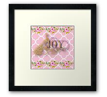 Joy.gold,typography,cool text,pink,white,moroccan,quatrefoil,pattern,floral,flowers,small roses,modern,trendy,elegant,cute,country chic Framed Print