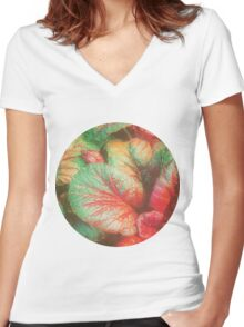 RED GREEN LEAFY PLANT Women's Fitted V-Neck T-Shirt