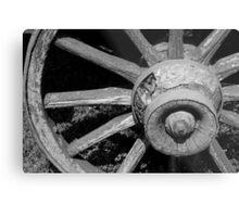 Wagon Wheel 2 BW Metal Print