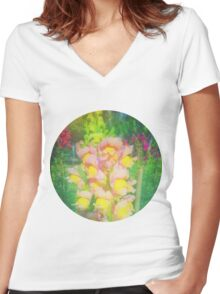 VINTAGE FLOWERS Women's Fitted V-Neck T-Shirt