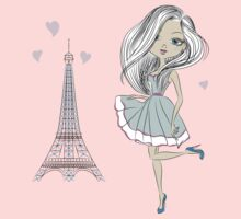 Vector art of Beautiful girl in Paris by LisaHars