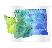 Watercolor Map of Washington, USA in Blue and Green - Giclee Print of My Own Watercolor Painting Poster