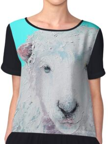 A Woolly sheep on turquoise background Chiffon Top