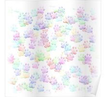 Tiny Pastel Rainbow Colored Paws Poster