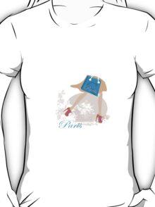 Vector art of girl shopping in Paris T-Shirt