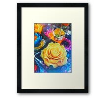 Wax Candle Flowers Framed Print