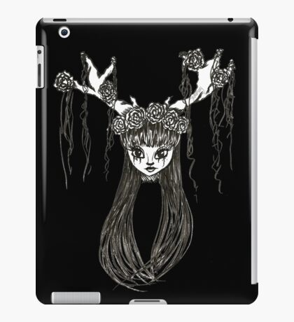 Antler Girl Ink Drawing. ShonaMary Designs Original Art iPad Case/Skin