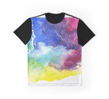 Watercolor Map of Washington, USA in Rainbow Colors - Giclee Print of My Own Watercolor Painting Graphic T-Shirt