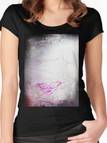 sketch of a girl reading, adventure Women's Fitted Scoop T-Shirt