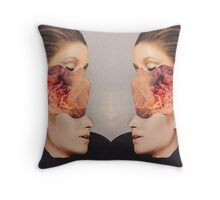 2 Faced. Explosion. Collage ® Throw Pillow