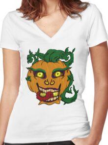 Halloween pumpkin Women's Fitted V-Neck T-Shirt