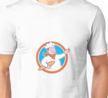 Chef Cook Holding Baguette Circle Cartoon Unisex T-Shirt