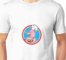 Pig Chef Cook Holding Bowl Circle Cartoon Unisex T-Shirt