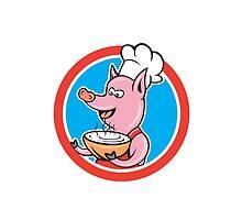 Pig Chef Cook Holding Bowl Circle Cartoon by patrimonio
