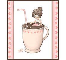 Chibi Cute Hot Chocolate Girl  Photographic Print