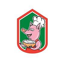 Pig Chef Cook Holding Bowl Shield Cartoon by patrimonio
