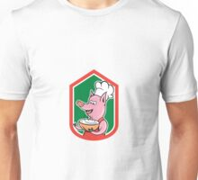 Pig Chef Cook Holding Bowl Shield Cartoon Unisex T-Shirt