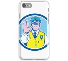 Traffic Policeman Hand Stop Sign Circle Cartoon iPhone Case/Skin