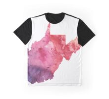 Watercolor Map of West Virginia, USA in Orange, Red and Purple - Giclee Print of my Own Painting Graphic T-Shirt