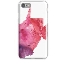 Watercolor Map of West Virginia, USA in Orange, Red and Purple - Giclee Print of my Own Painting iPhone Case/Skin