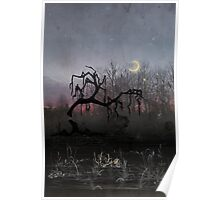 Willow Sunset Crescent Moon Poster