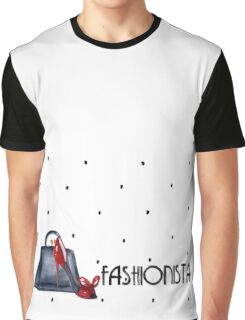 Fashionista Purse, Shoe and Polka Dot Pattern Graphic T-Shirt