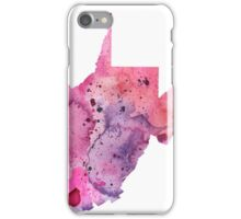 Watercolor Map of West Virginia,USA in Pink and Purple - Giclee Print of My Own Watercolor Painting iPhone Case/Skin