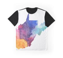 Watercolor Map of West Virginia, USA in Rainbow Colors - Giclee Print of My Own Watercolor Painting Graphic T-Shirt