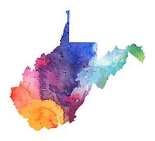 Watercolor Map of West Virginia, USA in Rainbow Colors - Giclee Print of My Own Watercolor Painting Photographic Print
