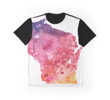 Watercolor Map of Wisconsin, USA in Orange, Red and Purple - Giclee Print of my Own Painting Graphic T-Shirt