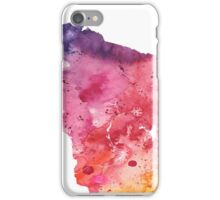 Watercolor Map of Wisconsin, USA in Orange, Red and Purple - Giclee Print of my Own Painting iPhone Case/Skin
