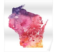 Watercolor Map of Wisconsin, USA in Orange, Red and Purple - Giclee Print of my Own Painting Poster