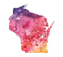 Watercolor Map of Wisconsin, USA in Orange, Red and Purple - Giclee Print of my Own Painting Photographic Print