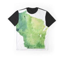 Watercolor Map of Wisconsin, USA in Green - Giclee Print My Own Watercolor Painting Graphic T-Shirt
