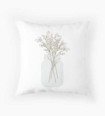 Baby's Breath in a Mason Jar Throw Pillow