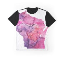 Watercolor Map of Wisconsin,USA in Pink and Purple - Giclee Print of My Own Watercolor Painting Graphic T-Shirt