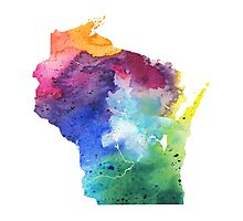 Watercolor Map of Wisconsin, USA in Rainbow Colors - Giclee Print of My Own Watercolor Painting Photographic Print