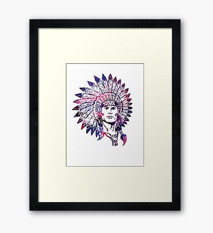 Watercolor Native American Chief Headdress Framed Print