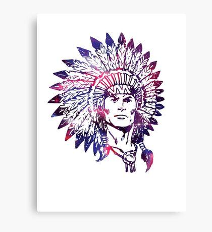Watercolor Native American Chief Headdress Canvas Print