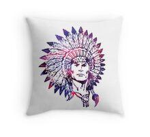 Watercolor Native American Chief Headdress Throw Pillow