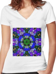 Dotty Kaleidoscope Women's Fitted V-Neck T-Shirt