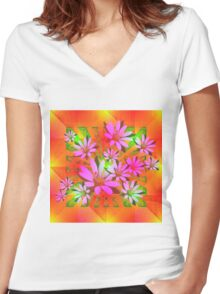 Delicate Daisies Women's Fitted V-Neck T-Shirt